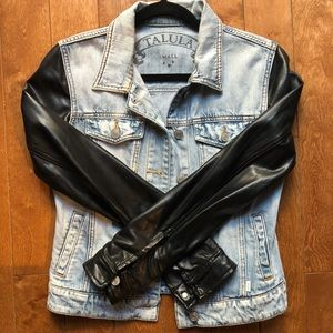 Aritzia Talula Denim Jacket with Leather Sleeves